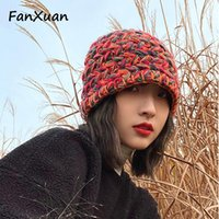 Wide Brim Hats Handmade Knit For Women Winter Autumn Colorful Fashionable Beanie Bonnets Young Lady Bucket Harajuku Student