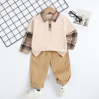 Clothing Sets 1-6Y Casual Kids Baby Boy Suits Autumn Spring Outfits Plaids Spliced Turn Down Collar Shirts+Long Trousers Children