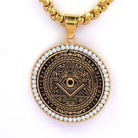 Stainless steel round men's evil eye masonic pendant freemason fraternal association free masonary necklace jewelry items