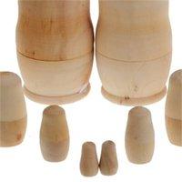 5 UNIDS / SET DIY sin pintar en blanco Embriones de madera Muñecas de anidación rusa Matryoshka juguete niños regalos de cumpleaños Suministros de fiesta GGA4391