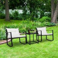 3 pçs / conjunto de jardim de móveis ao ar livre conjuntos de piscina cadeiras rattan sofá confortável mesa de café