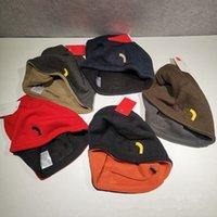 Unisex Kasketler Geri Dönüşümlü Örme Şapkalar Kış Polar Kafatası Kapaklar Bonnet Çift Taraflı Giyim Şapka Moda Mektubu Beanie Erkekler Kadınlar Sıcak Kap Kulak Muff Hediye