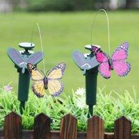 Garden Pots Decoration Solar Power Dancing Flying Fluttering Butterflies Colorful Vibration Simulation Bird Home Decor Decorations
