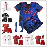 Maillot de Foot Lyon 2021 2022 Jersey de fútbol Memphis Traore Feale Football Shirt 22 Ol Aouar Men Kit Kit Uniform Top Calidad Rojo Negro Blanco
