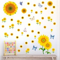 Wall Stickers Sunflower Butterfly Living Room Bedroom Children's Background Wallpaper Home Decoration