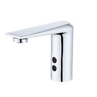 Automatic bathroom sink faucets smart taps deck mounted full brass polished chrome mixer water cold and hot ac electric and dc battery saving power