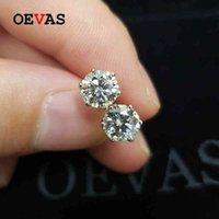 Ovas Real 0.5 / 1 Carat D Color Moissanite Bridal Briding Brincos 100% 925 Sterling Silver Sparkling Acunhado Festa de Jóias Fine 210325