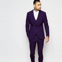 Men's Suits & Blazers 2021 Groomsmen Shawl Lapel Groom Men Suit Tuxedos Purple Slim Fit Wedding Man Blazer (Jacket+Pants+Vest+Tie)