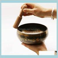 Exquisite tibetische Glocke Metall Singing Bowl Stürmer für Buddhismus Buddhistische Meditation Heilung Entspannungsmuster zufällig mit High Sjex7 RSZNU