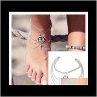 Barfuß Sandalen Schmuck aushöhlen Hoard der Wiederherstellung von Quaste Böhmen Fußkettchen Boho Perlen Anklets Armband Fußkette Strand 77xq1 TGXZC