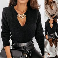 Women's Blouses & Shirts Women Autumn Hollow Out Deep V Neck Metal Chain Blouse Top Long Sleeve Pullover Woman Fashion 2021 Elegant