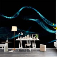 Wallpapers Modern Abstract Blue Curve Technology Sense Black Background Wall Mural Wallpaper 3D Living Room Office Decor Paper