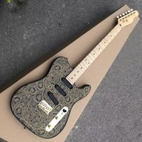 New Arrival 6 Strings Black Electric Guitar with Golden Flower Pattern,SSS Pickups,Maple Fretboard