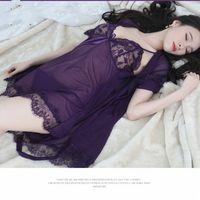 Tres conjuntos de ropa interior encaje Pijamas sexual ropa interior de la perspectiva de la perspectiva de la perspectiva de la malla de las señoras Nightdress i7mk #