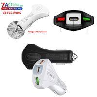 Comincan Автомобильное зарядное устройство Mini 2USB Порты QuickCharge 3.0 С Тип-С Безопасы Аварийный молоток Быстрая Автомобильная зарядное устройство Адаптер DHL Shi P