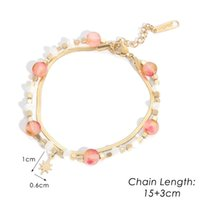 Link, Chain High Quality Fashion Pink And White Crystal Beads Golden Stainless Steel Flat Snake Pendant Bracelet