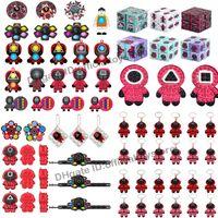 DHL Fidget Toys Jouets Squid Jeu Simple Dimple Keychain Squeeze Push Bubble Sensory Stressory Soulager Soulager autism Spinner Christmas Décompression Toy cadeaux pour enfants adultes