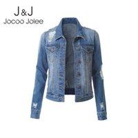 Женские куртки Jocoo Jolee Korean Denim Vinither Ratsed Streetwear Harajuku Jean Coats Одиночная погружная стройная куртка