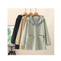 Women's Trench Coats Plus Size Windbreaker Spring Autumn Casual Loose Jacket Foreign Style Solid Color Hooded Wild Simple Coat D205