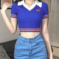 Women's T-Shirt Knitted Lapel Stitching Top Digital Printing Hit Color 2021 Summer Navel Exposed