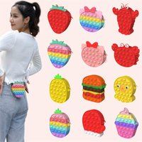 Fidget Toys Push Bubble Crossbody Bags With Lanyard Favor Sensory Coin Purse Pop Bubbles Cartoon Fruit Strawberry Pineapple Shape Shoulder Bag Educational Toy
