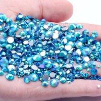 Nail Art Dekorationen dunkel Aquamarin AB nicht fix Glas Strasssteine für Nägel Flatback Kleber auf Kristall Diamanten DIY Hochzeit Kleidung Dekoration