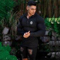 Muscleguys Mola Mola Manga Longa Polo Camisas Homens Slim Fit Coloque gola Macho Fitness Polo Camisa Algodão Bodybuilding PoloShirt