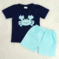 블루 크랩 패턴 소년 자수 여름 복장 소년 Raglan 셔츠 일치 Seersucker 반바지 2 조각 세트 아이 의류