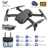 Nyr e99 pro2 rc mini drone 4k 1080p 720p doble cámara wifi fpv fotografía aérea helicóptero plegable quadcopter dron juguetes