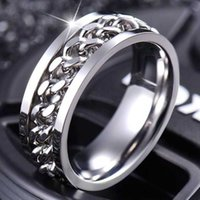 The New Listing Jewelry Rotatable Titanium Steel Chain Stainless Steel Bridal Wedding Ring For Women Girls