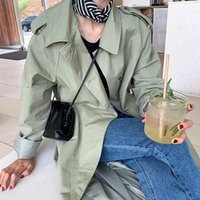 Women's Trench Coats 2021 Spring Loose Women Coat With Sashes Oversize Single Breasted Vintage Female Windbreaker Outwear Autumn FY100