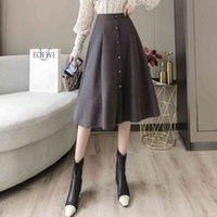 Skirts Get back feminine, com e out wide with high waist, loose and simple sizes, autumn HZZH