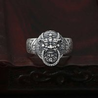 Ring S990 full silver jewelry fashionable dragon lion small opening adjustment ring for men and women