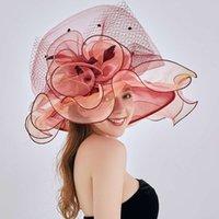NOUVEAU Été Top Summer Femme Sun Fleur Sun Plolable Organza Big Edge Beach Hat
