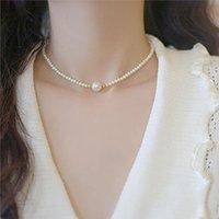Chokers Kpop Pearl Choker Necklaces For Women Neck Chain Flower Pendant Beads Boho Jewelry Decoration 2021 Collar Girl Chocker