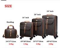 """Alta qualidade mala 16 """"24"""" polegadas retro mulheres bagagem saco de viagem com bolsa de rolamento em rodas"""