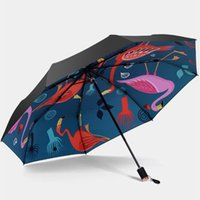 Umbrellas Colorful Flamingo Pattern Umbrella UV Protection Windproof Folding Compact Outdoor Travel Sun Rain Women's