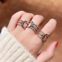 Net Red Same Knot with Diamond Ring Temperament Fashion Versatile Open Index Finger Joint Accessories Nr98