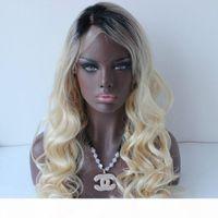Лучшие продажи Длинные Омбре Блондинка волнистые Полный кружевной парик Средняя часть темных корней Блондин парик Безлистые человеческие волосы кружевные фронтские парики