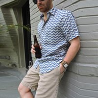 Men's Polos Business Casual Men Short Sleeve Tops Shirts Fashion Plaid Printing Loose Pullovers Summer Mens Cardigan Lapel Shirt Streetwear