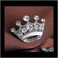 Silber Ton Klar Kristall Kleine Krone Pin Brosche Sehr niedliche Legierungsfrauen Kragen Pins Hochzeit Brautschmuck Zubehör Geschenk 5Aslack V4WXL