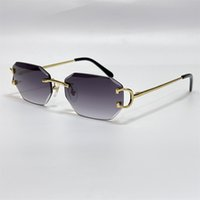 럭셔리 디자이너 망 선글라스 다이아몬드 컷 렌즈 브랜드 디자인 피카딜리 불규칙한 Frameless 남자 패션 스퀘어 태양 안경 18K 골드 빈티지 안경 0103