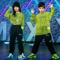 Clothing Sets Kids 2 Pieces Leopard T-shirt Pant Boys Girl Streetwear Casual Tracksuit Children Hip Hop Jazz Dance Stage Show