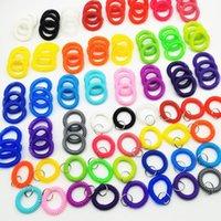 Anel de Cabelo Plástico Linha Telefone Bracelete Keyring Braceletes Ponderadores Círculo Elástico Cabeça Corda 100 Única cor por pacote Novo G38ayaa