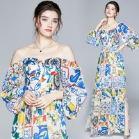 Vintage Women Designer Maxi Dress 2021 Lantern Sleeve Party V-Neck Backless Split Dresses Spring Autumn Runway Slim Honeymoon Blue and White Porcelain Printed Frock