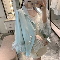 Elegant Ladies Suits Jackets New Spring Autumn All-match Feather Long Sleeve Pearl Single Breasted Women LZ2829
