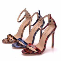 Sandals High-heeled female flats crystalline leopard queen with peep buckle toe stilettos sandals plus black-blue shoes 42 TK87