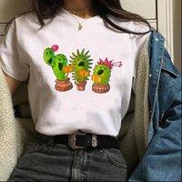 Cactus Singing Cartoon Fashion Womens T Shirt Short Sleeve Tees Graphic