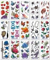 39 Stilleri Kelebek 3D Dövme Çiçekler Yaprak Çıkartmaları Kadınlar Çocuklar için Renkli Vücut Sanatı Geçici Dövmeler DHD6507