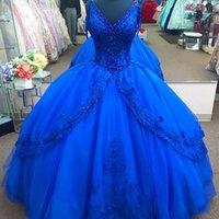 Prenses Lüks Kraliyet Mavi Artı Boyutu Balo Quinceanera Elbiseler V Boyun Aplike Boncuk Sweep Tren Tatlı 16 Elbise Pageant Parti Abiye Vestidos De 15 Blancos